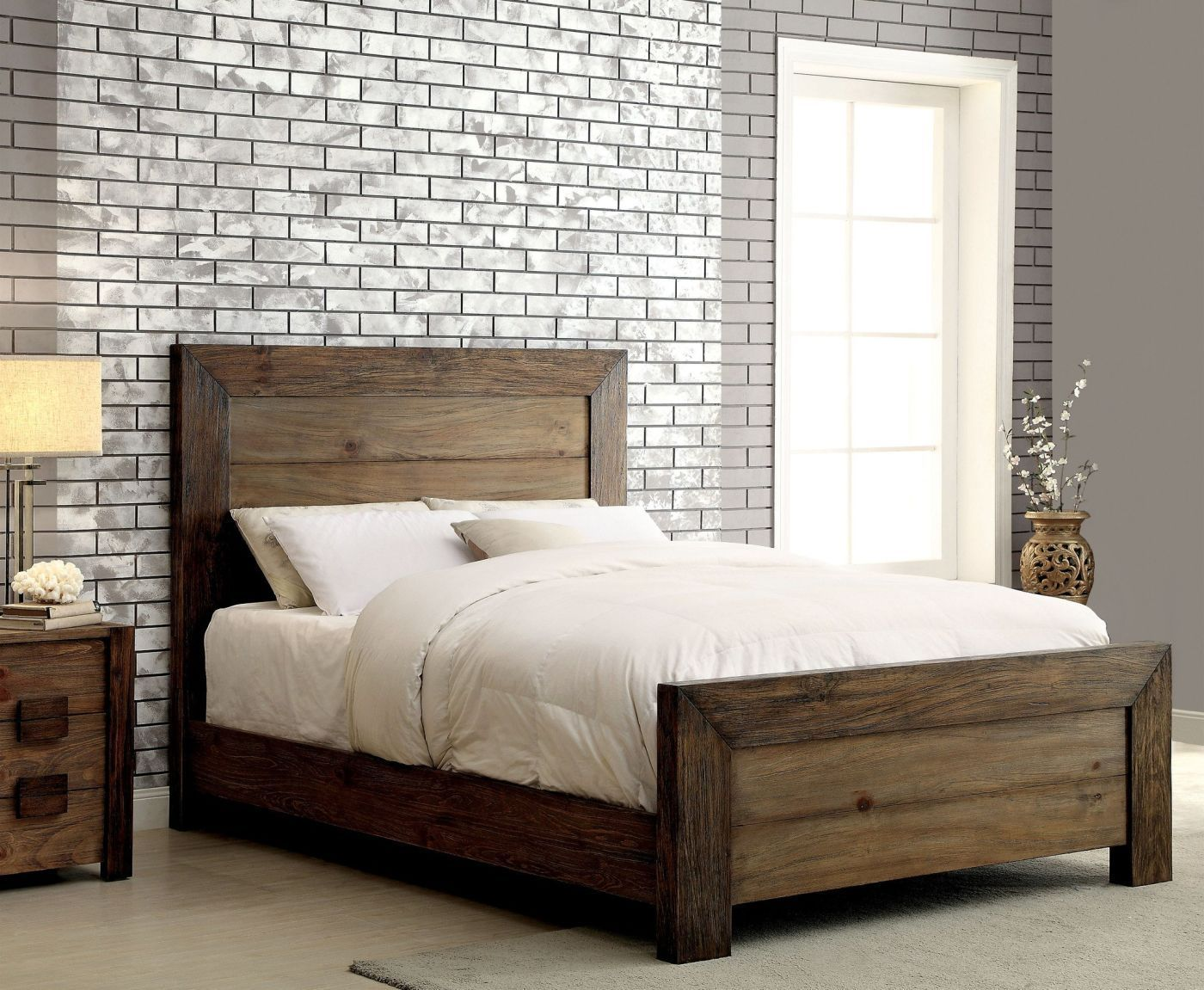 Braddy Transitional EasternKing Size Bed in Natural