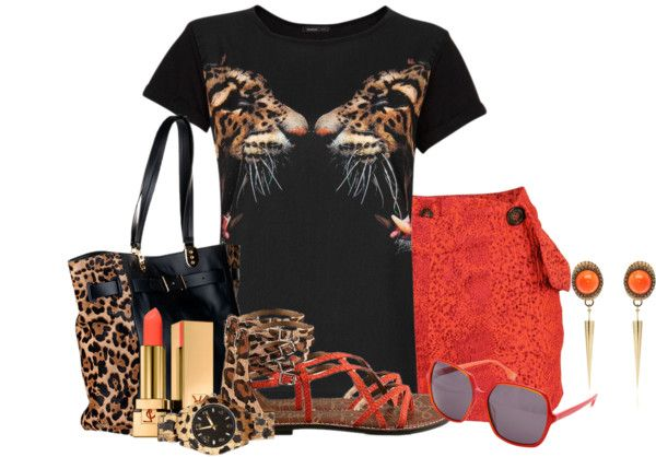 """""""Orange and Leopard"""" by brendariley-1 on Polyvore"""