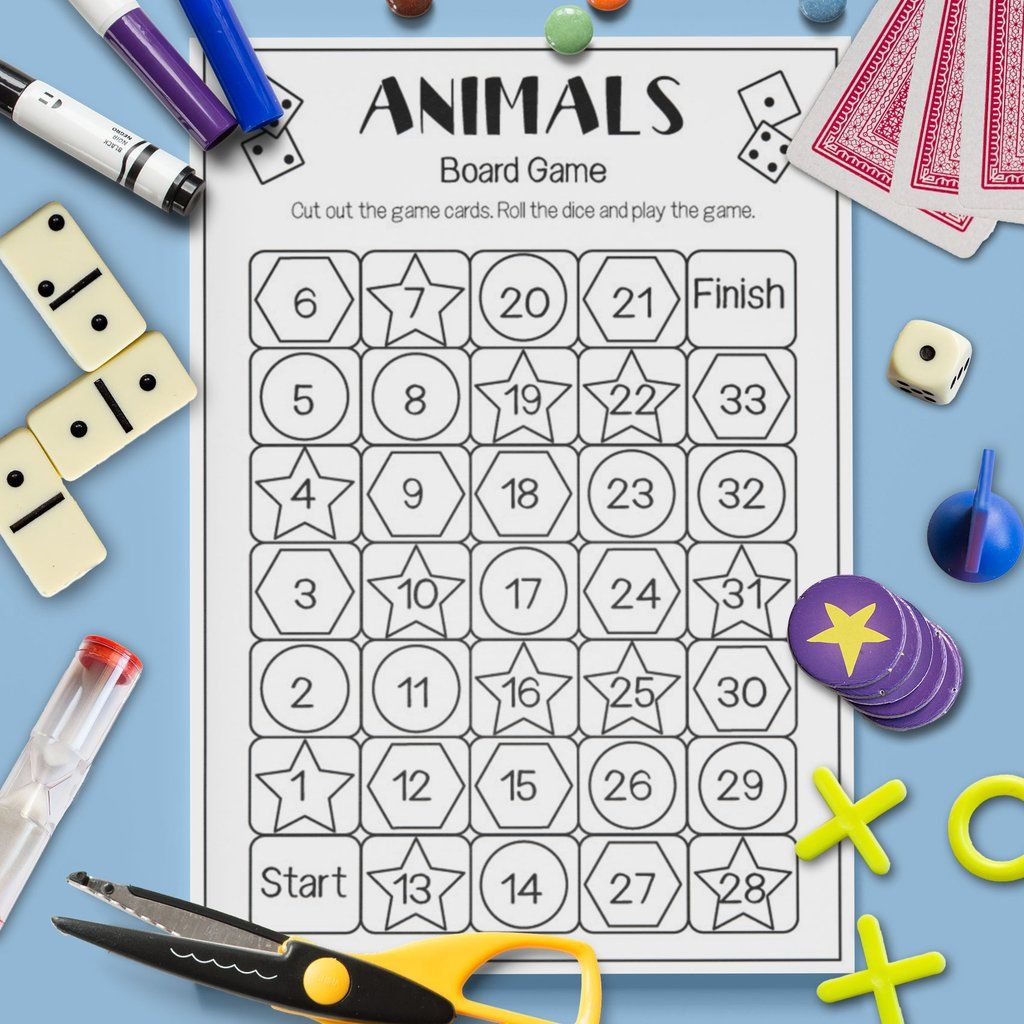 Wild Animal Spell Read Say Board Game