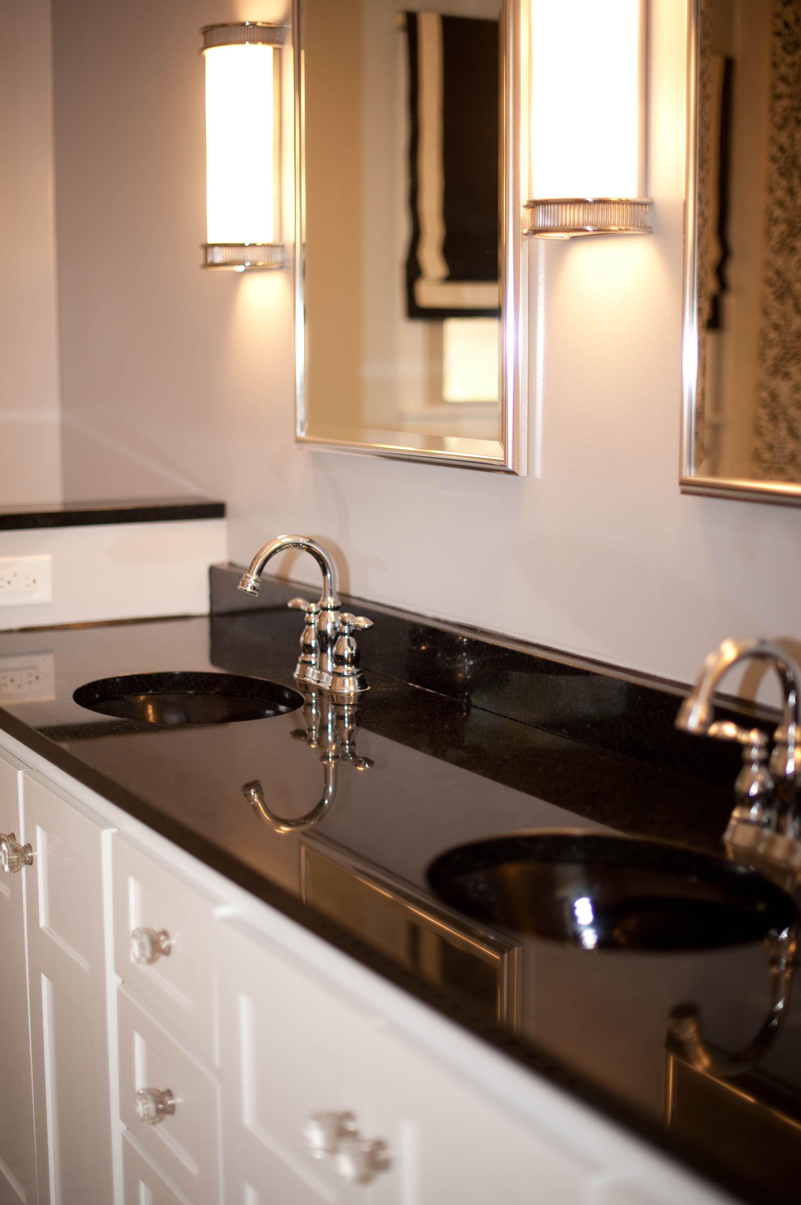 classic black and white bathroom. restoration hardware ... on Bathroom Ideas With Black Granite Countertops  id=54633