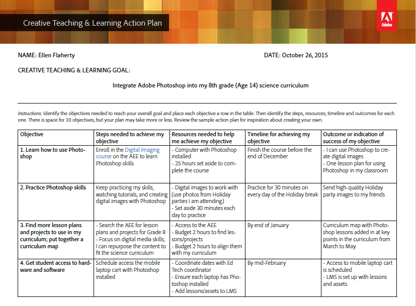Creative Teaching  Learning Action Plan  Template And Sample