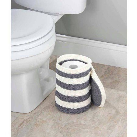 InterDesign Ellis Knitted Free Standing Toilet Paper Roll Holder for Bathroom Storage, Gray/Ivory, Multicolor