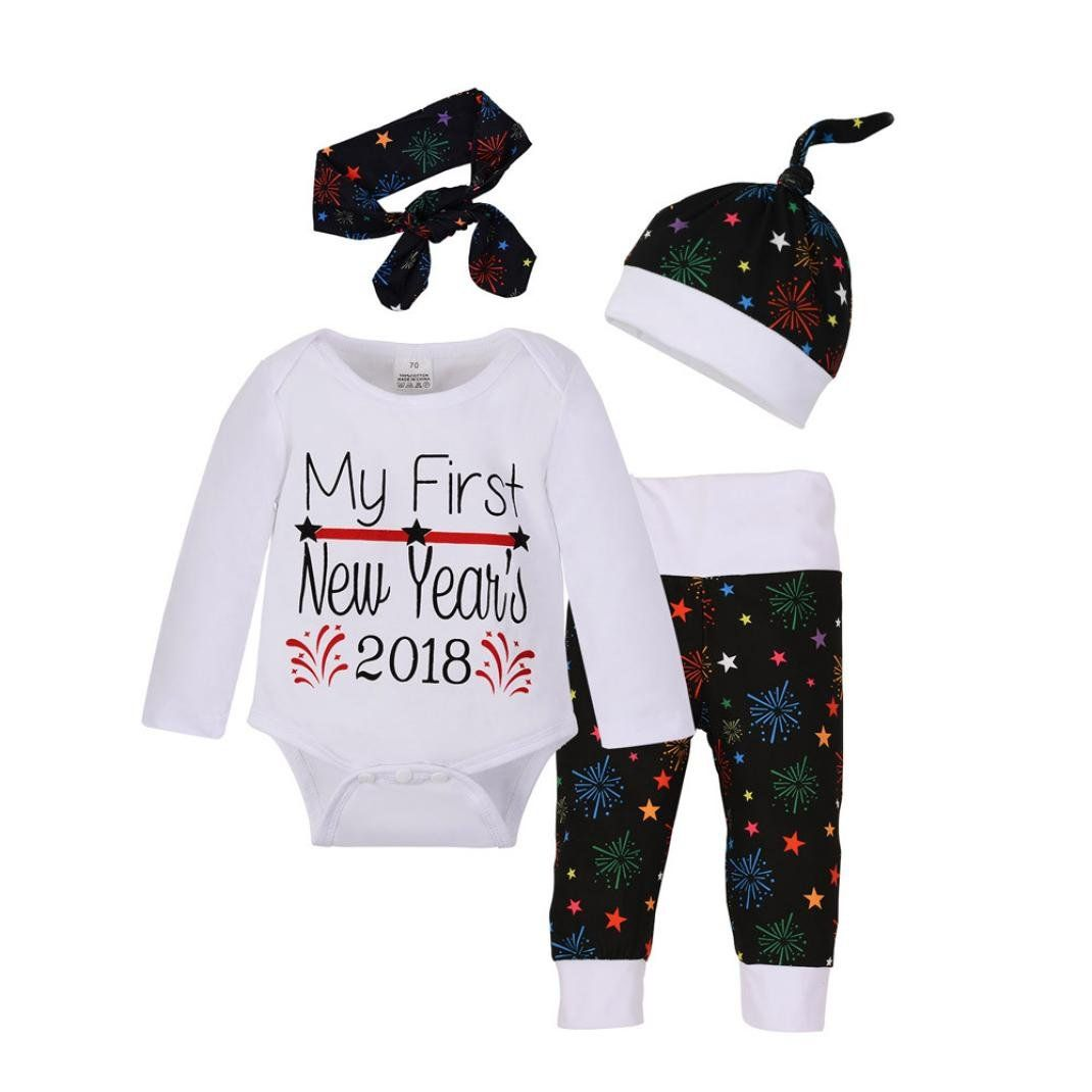 Newborn Baby Girls Boys Christmas Outfits Clothes RomperPantsHat