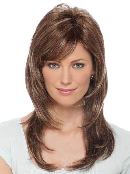 Photo of Chestnut Brown Heat-resistant Fiber Side-swept Bangs Woman's Medium Wig