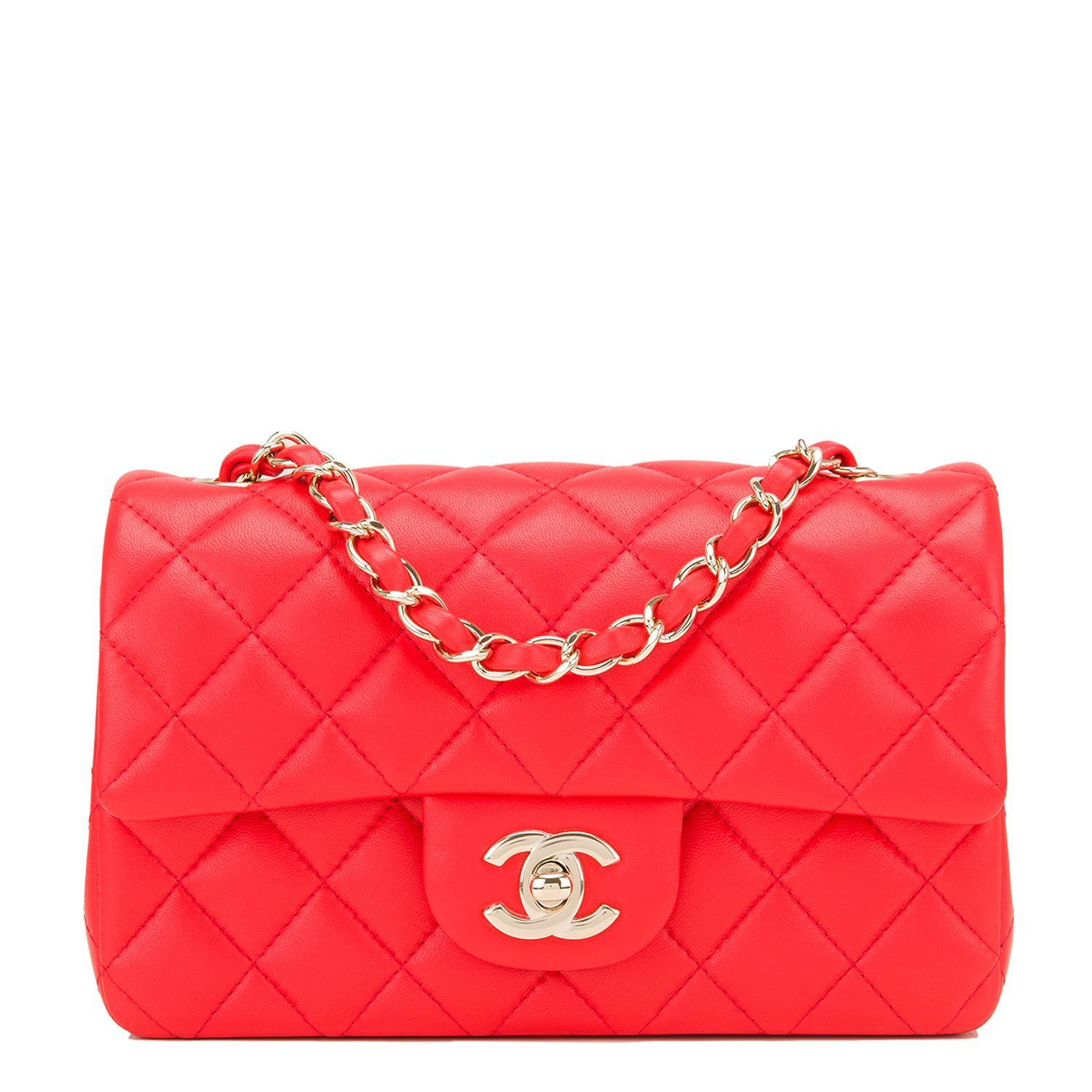 9c33fb678fb254 #Chanel Red Quilted Lambskin Rectangular Mini Classic Flap #Bag  #Chanelhandbags