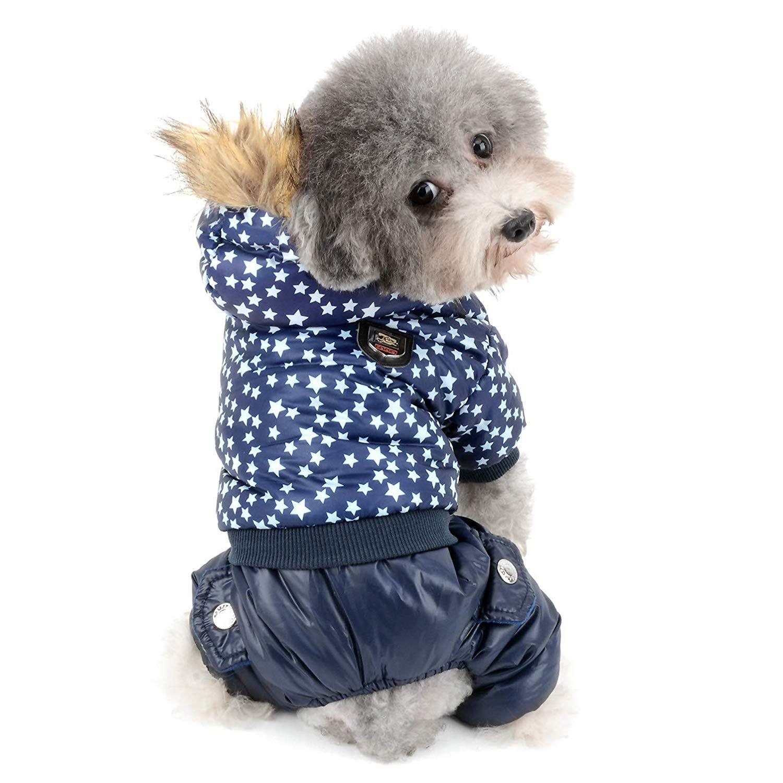 Stars Fleece Small Dog Pajamas Hooded Winter Coat