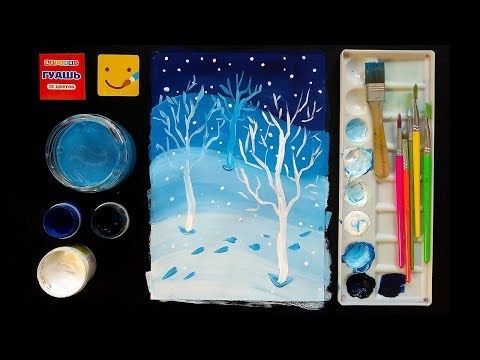 как нарисовать дерево без листьев красками? Видео урок ...