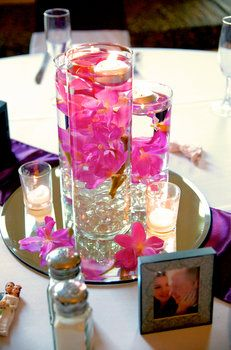 Wedding, Flowers, Reception, Pink, Purple, Centerpiece, Orchid