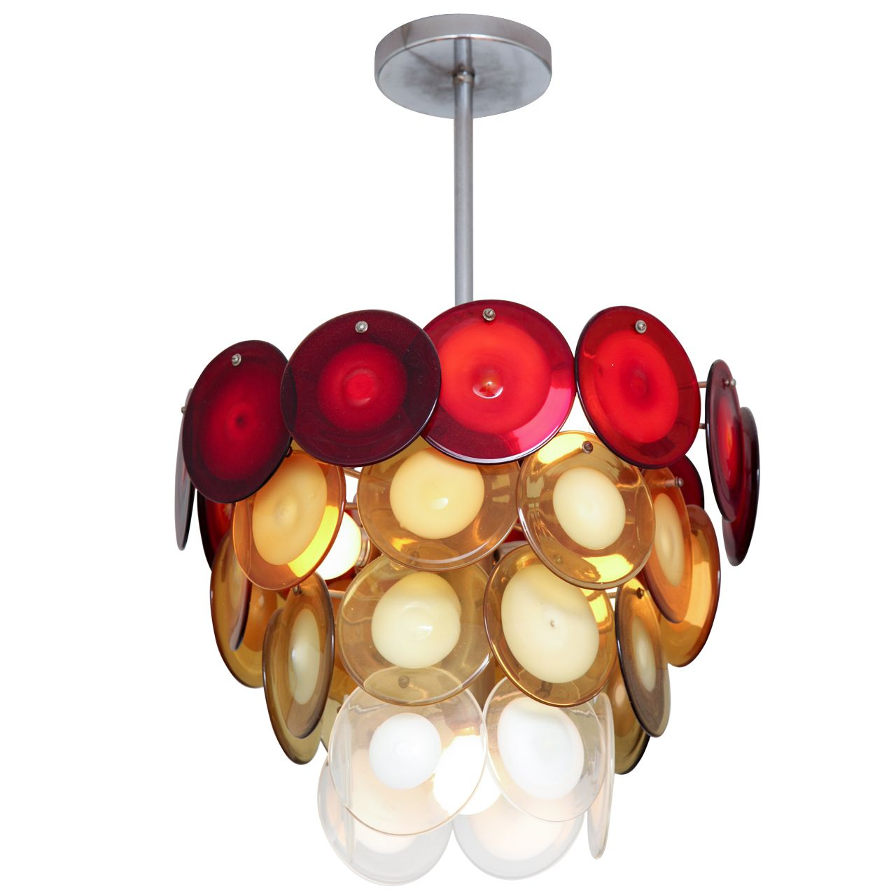 FourTiered Vistosi Red Yellow Green and White Disc Chandelier