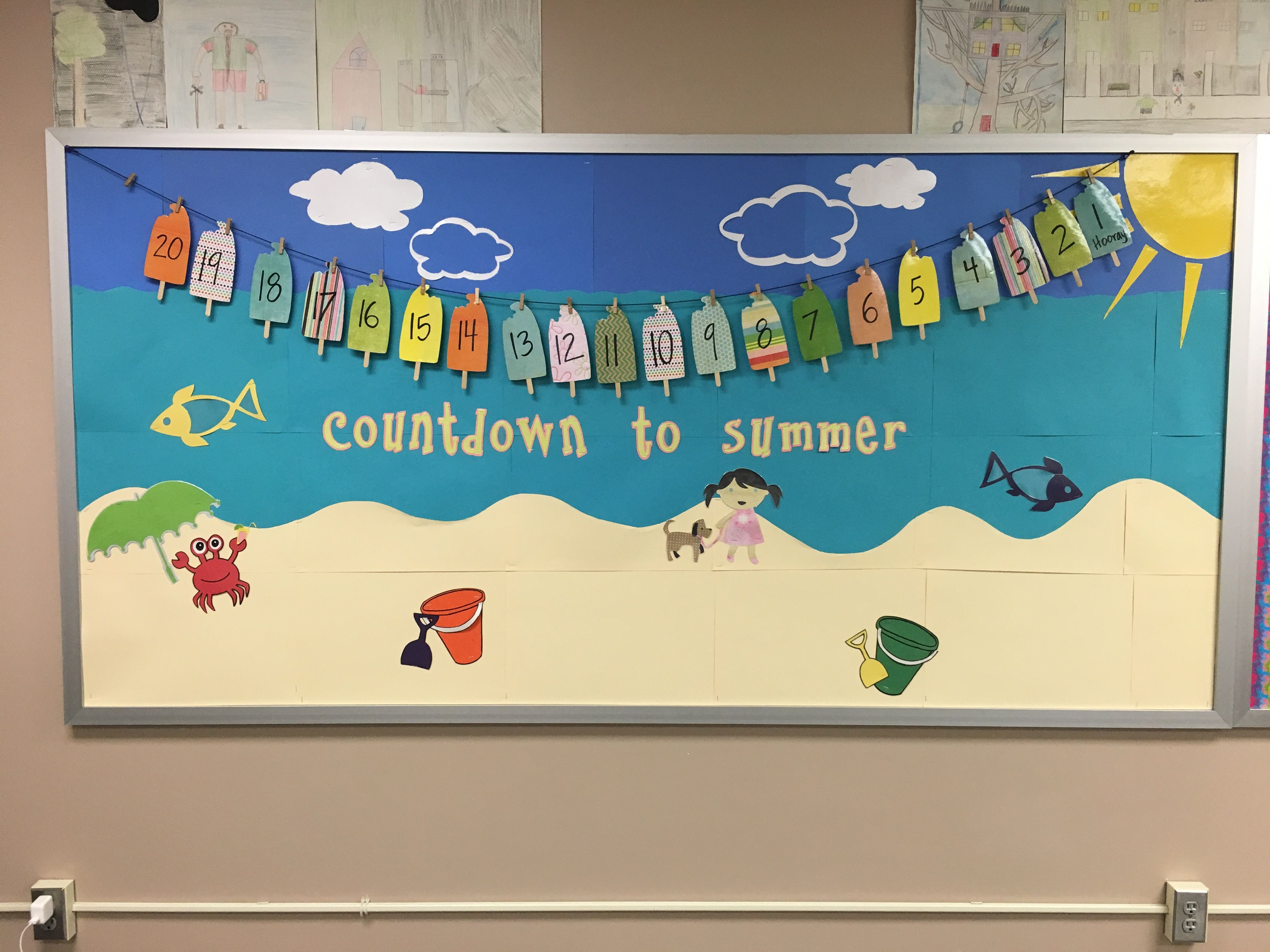 Summer countdown bulletin board bulletin boards for Creative notice board ideas