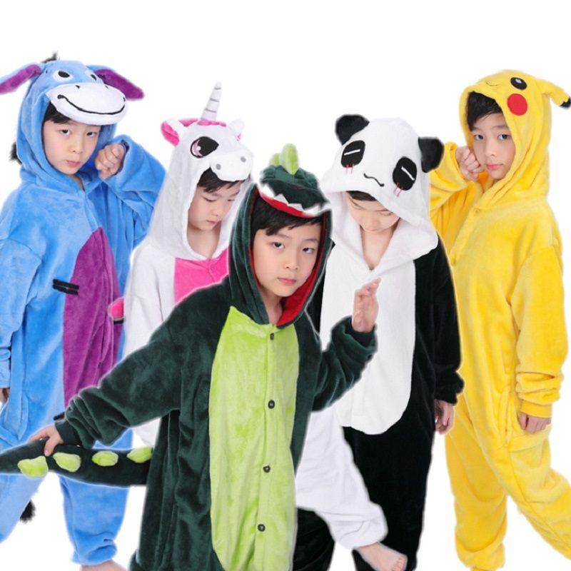 c0723b9f81 Autumn Winter Flannel Kids Pyjamas Animal Onesie Panda Stitch Unicorn  Pajamas Boys Girls One Piece Pajamas Baby Sleepers
