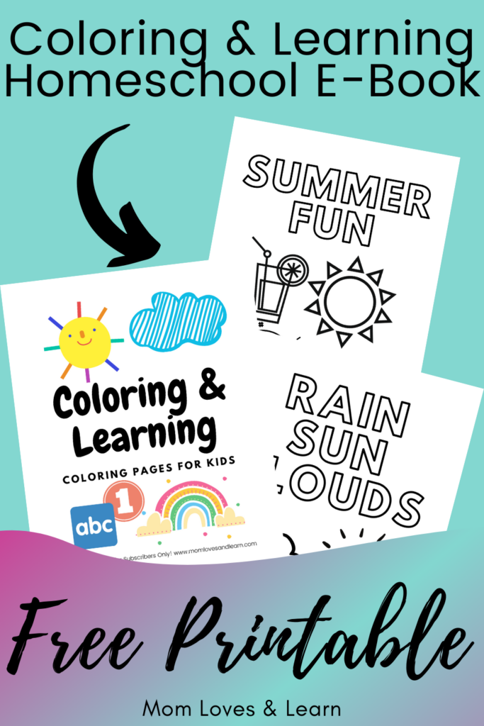 Photo of Coloring and learning homeschooling e-book for kids