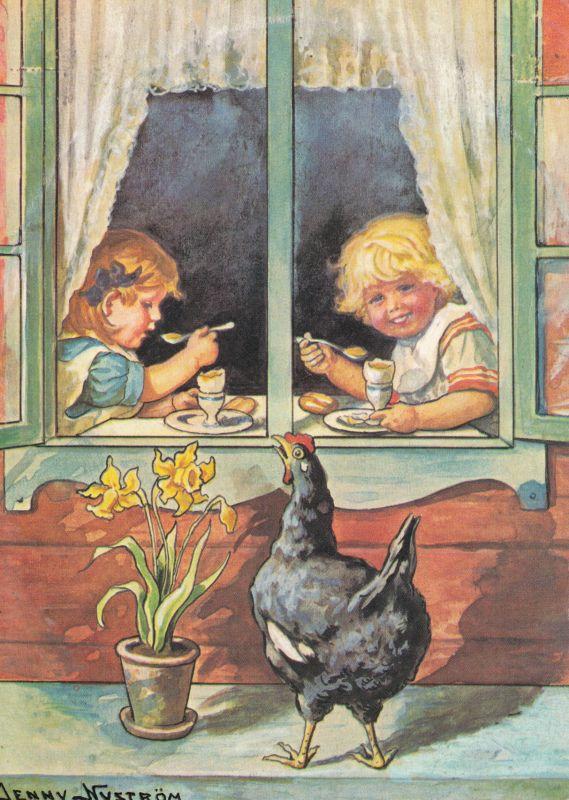 Jenny Nyström  -  Lapset ikkunan takana,kana kurkkii. - Huuto.net