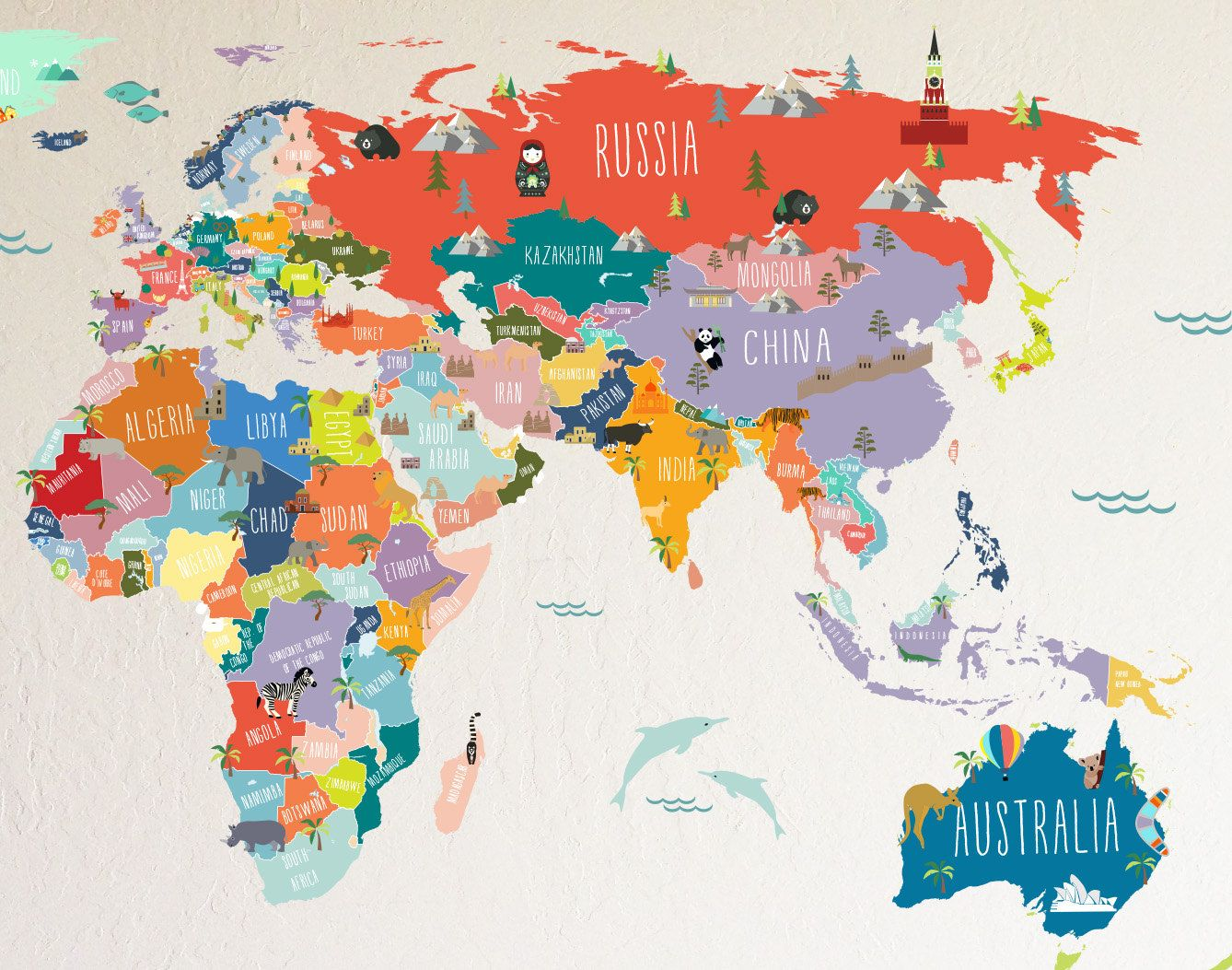 World Map Interactive Map WALL DECAL By TheLovelyWall On Etsy - Interactive map for children