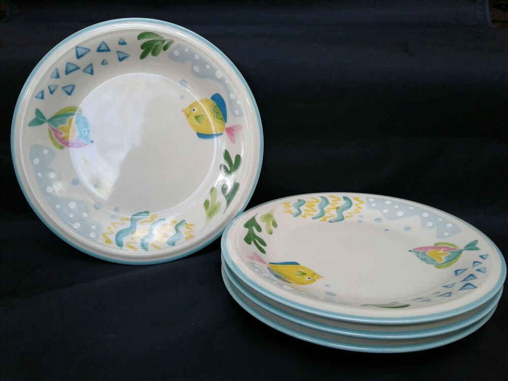 Mikasa Studio Nova Barrier Reef Pattern Lot Of 4 Salad Plates Y