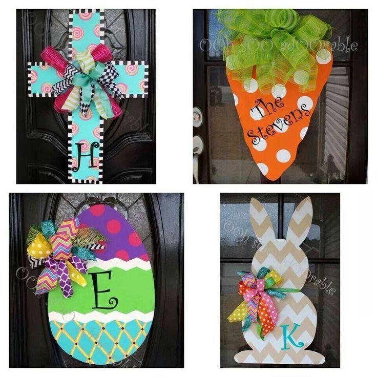 Front Door Hangers | Wooden front door decor! | Easter | Pinterest ...