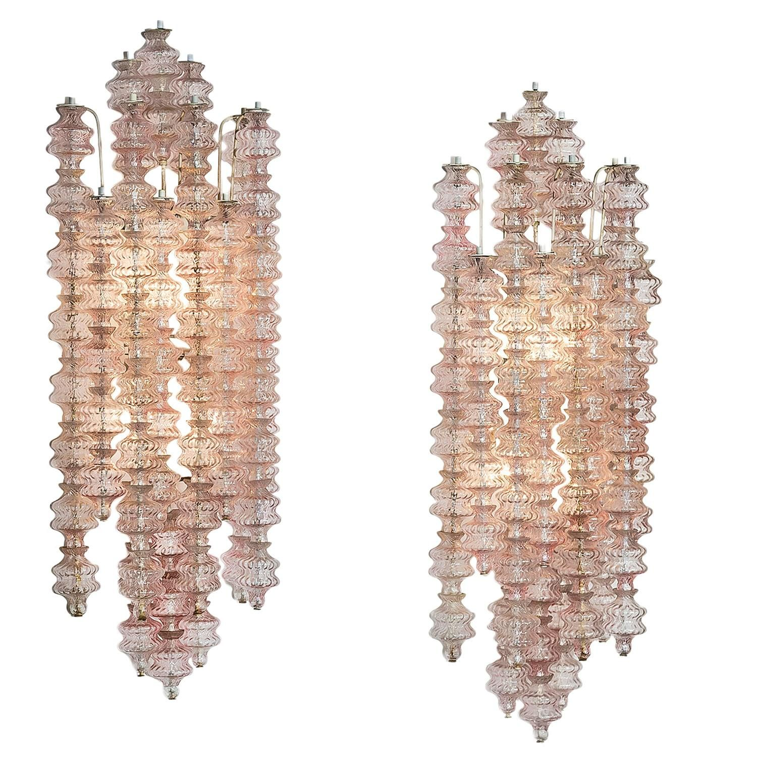 Pair Large  pink glass wall appliques, Seguso, Italy, 1950s