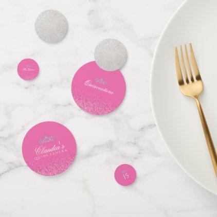 Pink Glitter Quinceanera Confetti |  Pink Glitter Quinceanera Confetti