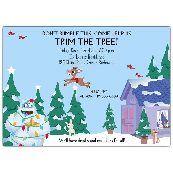 Rudolph Tree Trimming Invitations PaperStyle – Tree Trimming Party Invitation