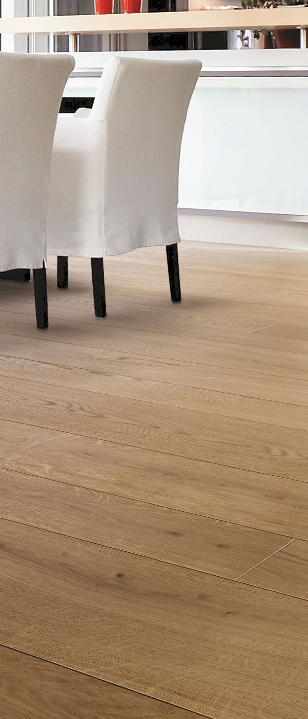 Skema's Oximoro line of real wood flooring offers the lasting beauty and durability of real wood. Shown here in Sole.