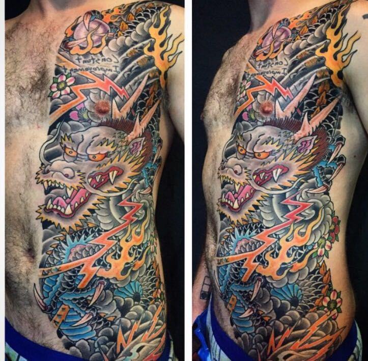 Austin Watercolor Tattoo: Dragon Ben Siebert Great Wave Tattoo. Austin Texas