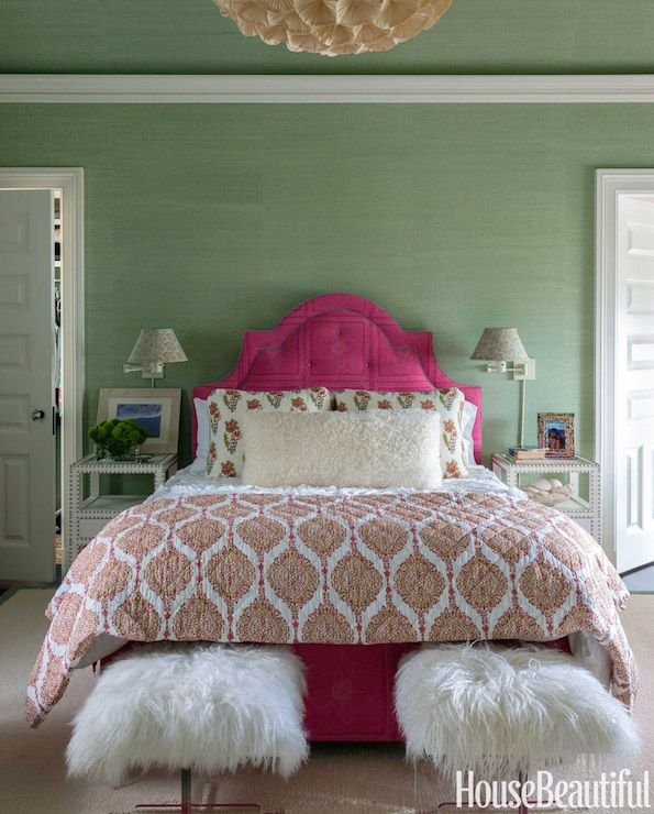 Lee ann thornton gorgeous bedroom features green grasscloth papered walls and ceilings clad in glam