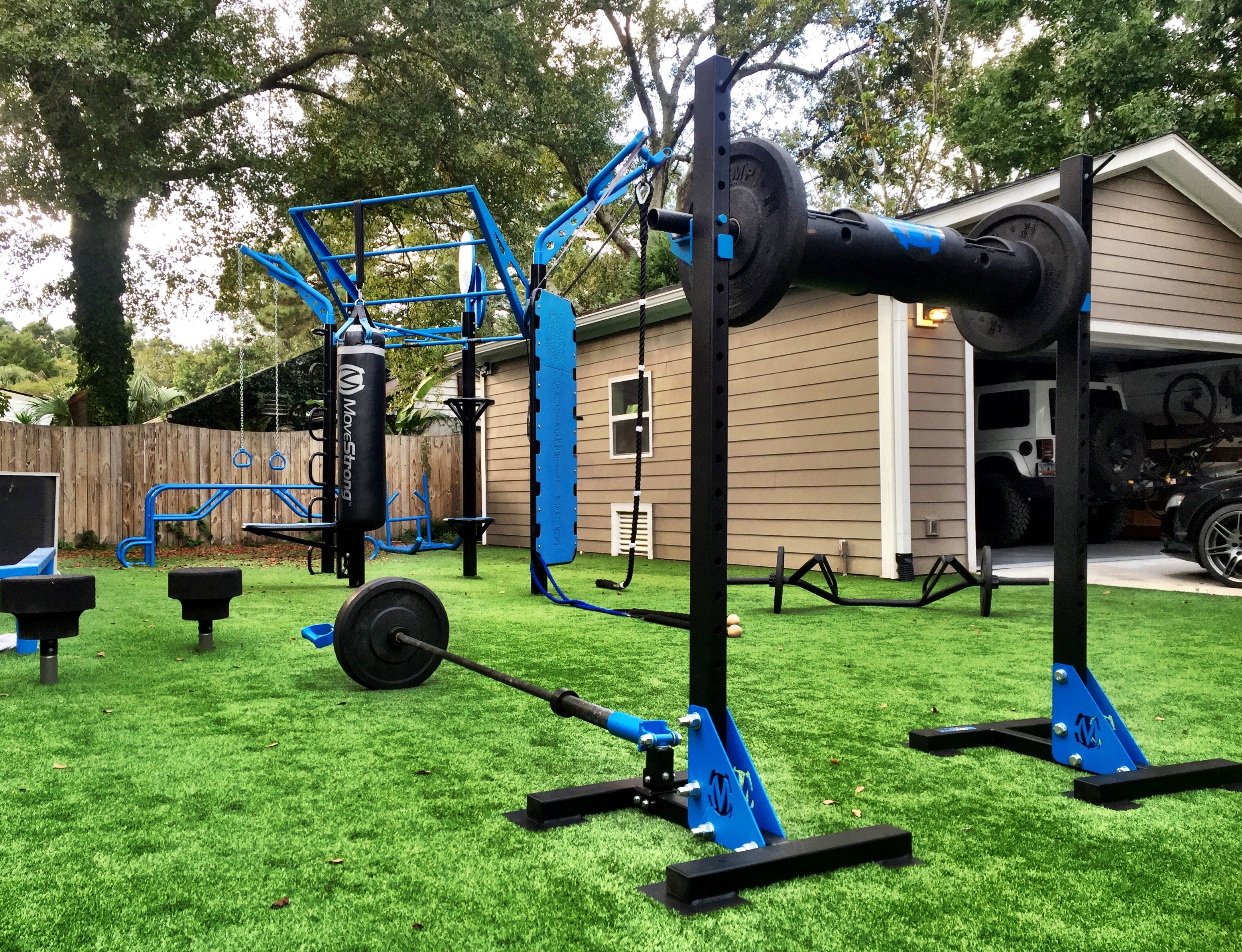 Backyard training with Indy Squat stands and the MoveStrong T Rex