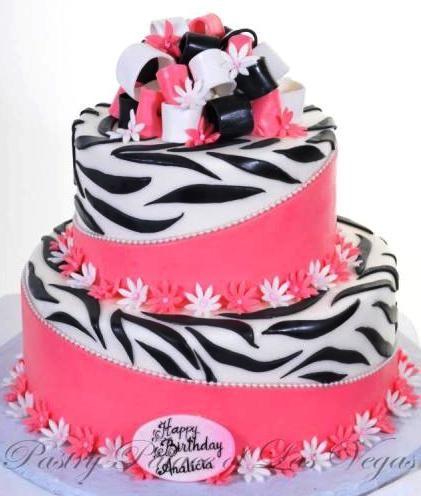 Pastry Palace Las Vegas Birthday Cake 1030 Pink Zebra Brightly