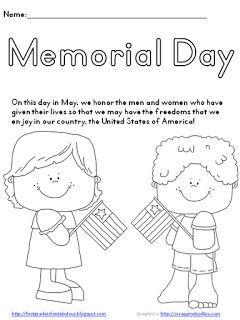 Marvelous Memorial Day Worksheets Printable Kids | Memorial Day {FREEBIE!}