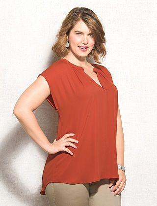 Dress Barn - roz & ALI™ Plus Size Pleated V-Neck Top ...