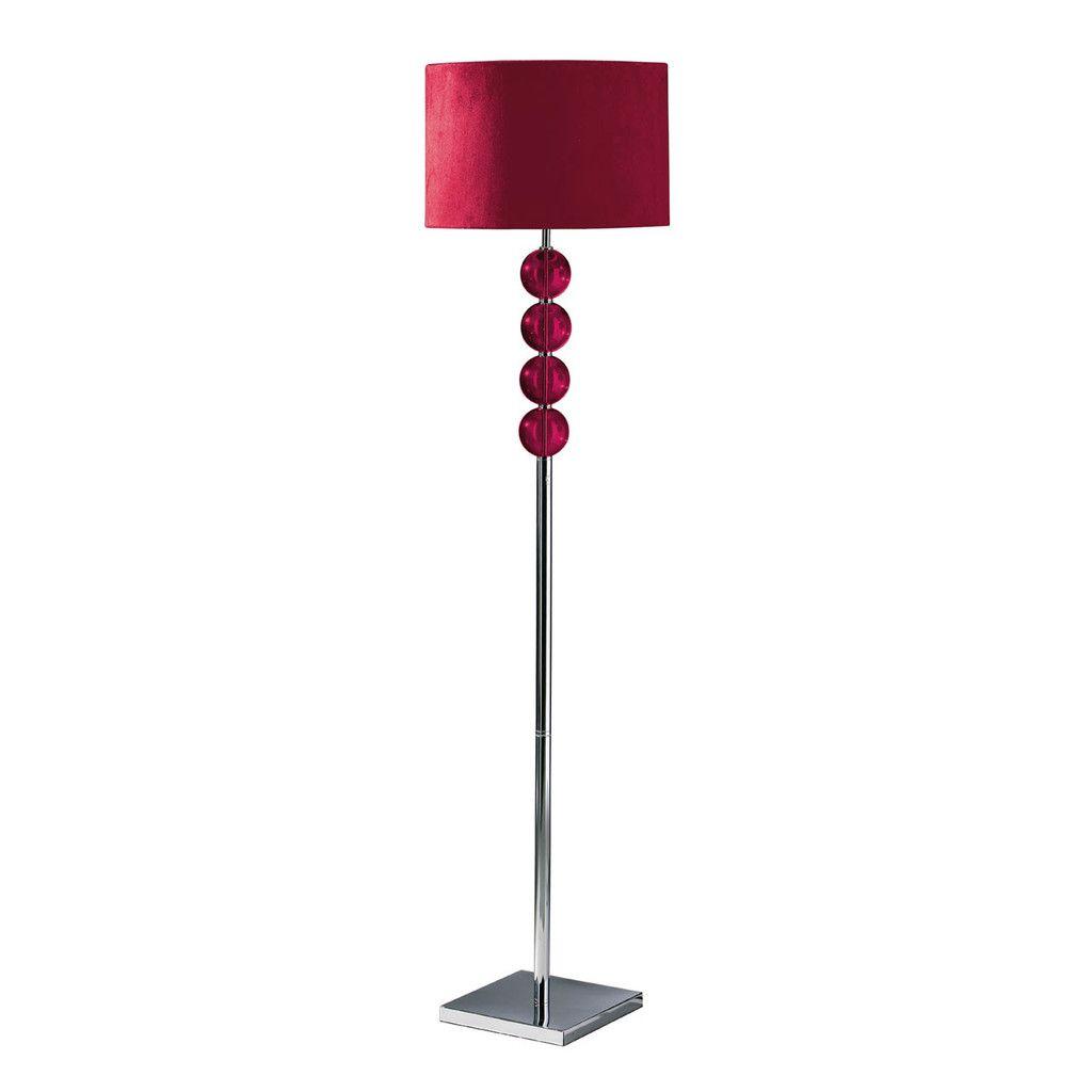 Mistro Floor Lamp (EU Plug), 4 Red Glass Balls / Chrome, Red Suede ...