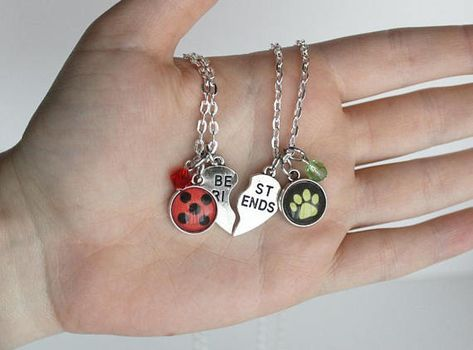 **PRE ORDER*** Due to popularity this item has an extended turnaround time. Celebrate the relationship between Ladybug and Chat Noir with this friendship necklace set! Featuring the iconic symbols of miraculous Ladybug and Chat Noir, paired with sparkling crystal beads, these BFF #relationships