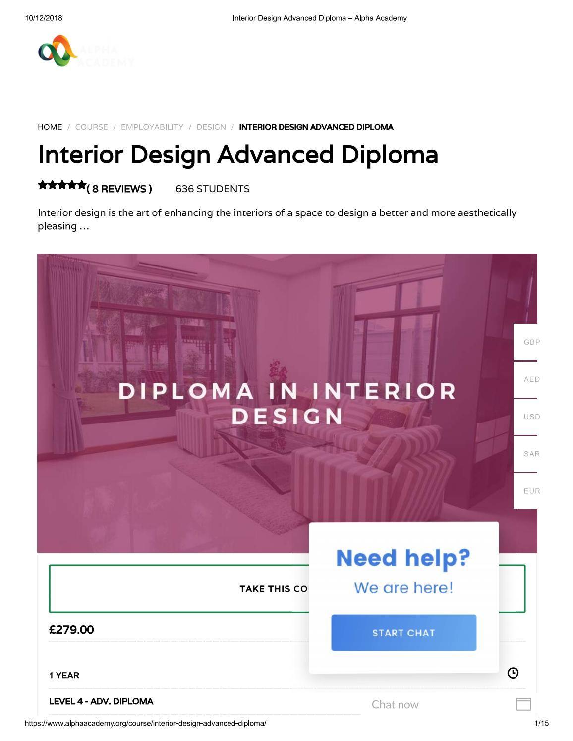 Interior Design Advanced Diploma Alpha Academy Design
