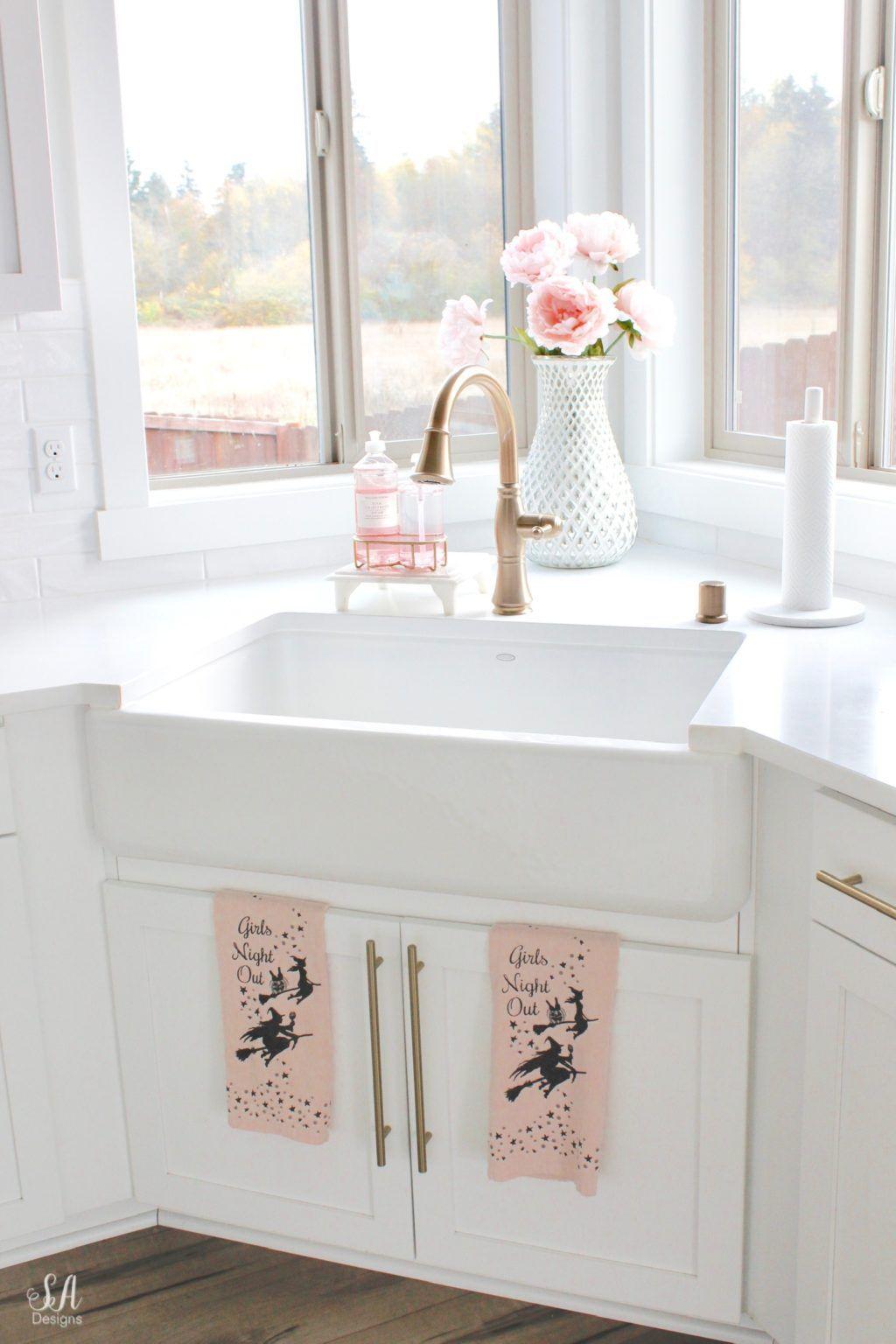 Blush Pink & Black Halloween Table, Kitchen, & Living Room
