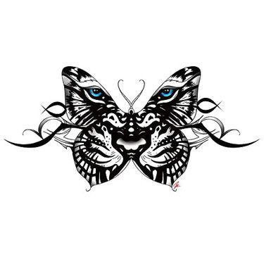 Tiger Face Butterfly Tattoo Design Butterfly Tattoo Designs Butterfly Tattoo Symbolic Tattoos