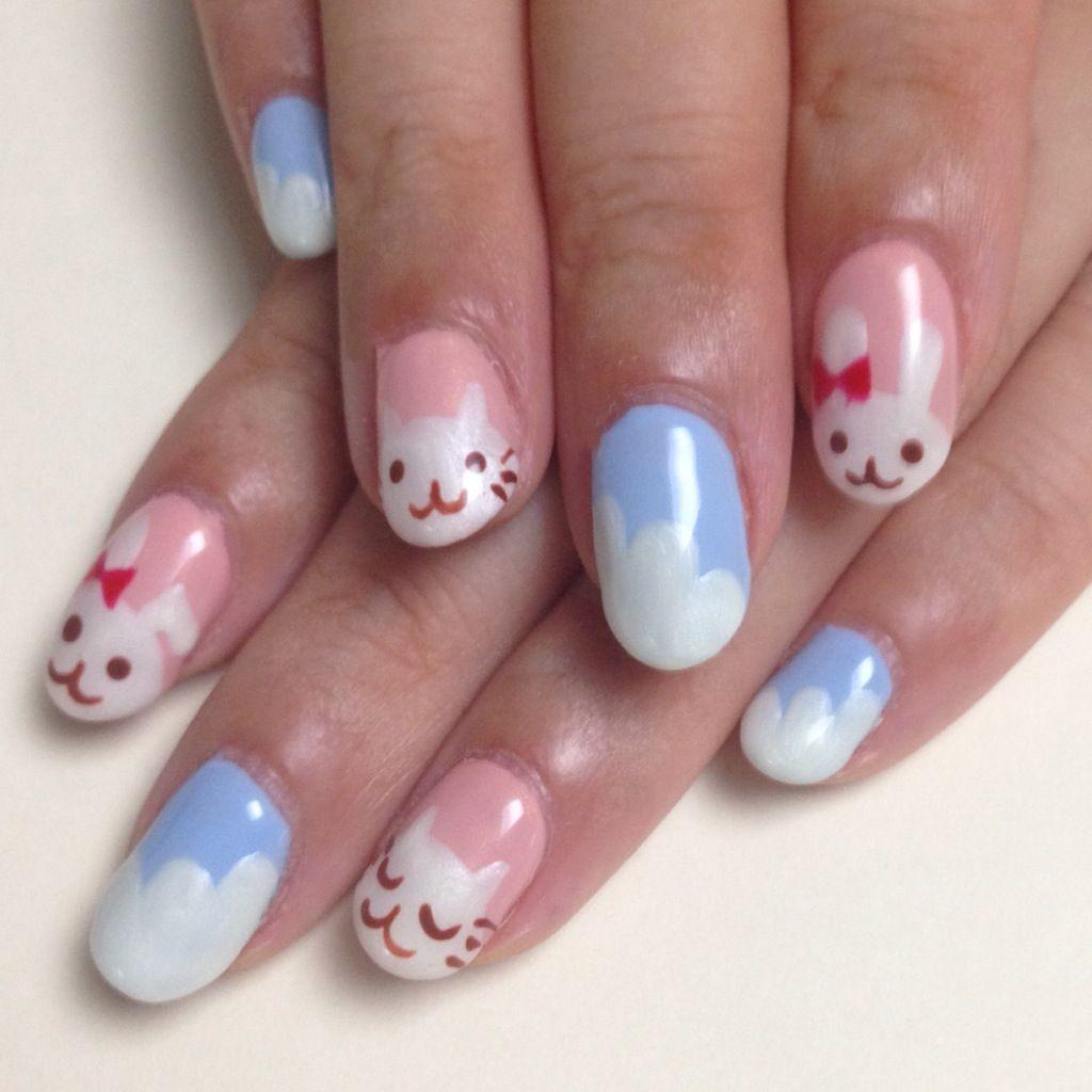 うさぎとネコのネイル Rabbit Cat Nail Art Cat Nails Cute