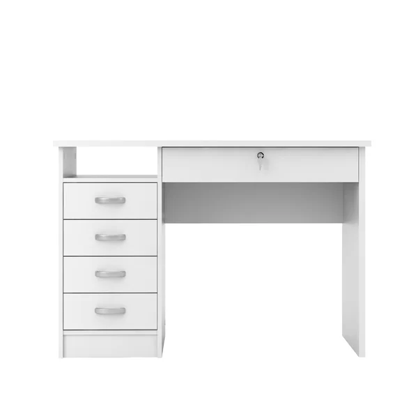 Ultra Modern White Lacquer Executive Desk With Three Drawers Office Furniture Modern White Desk Office Modern White Desk