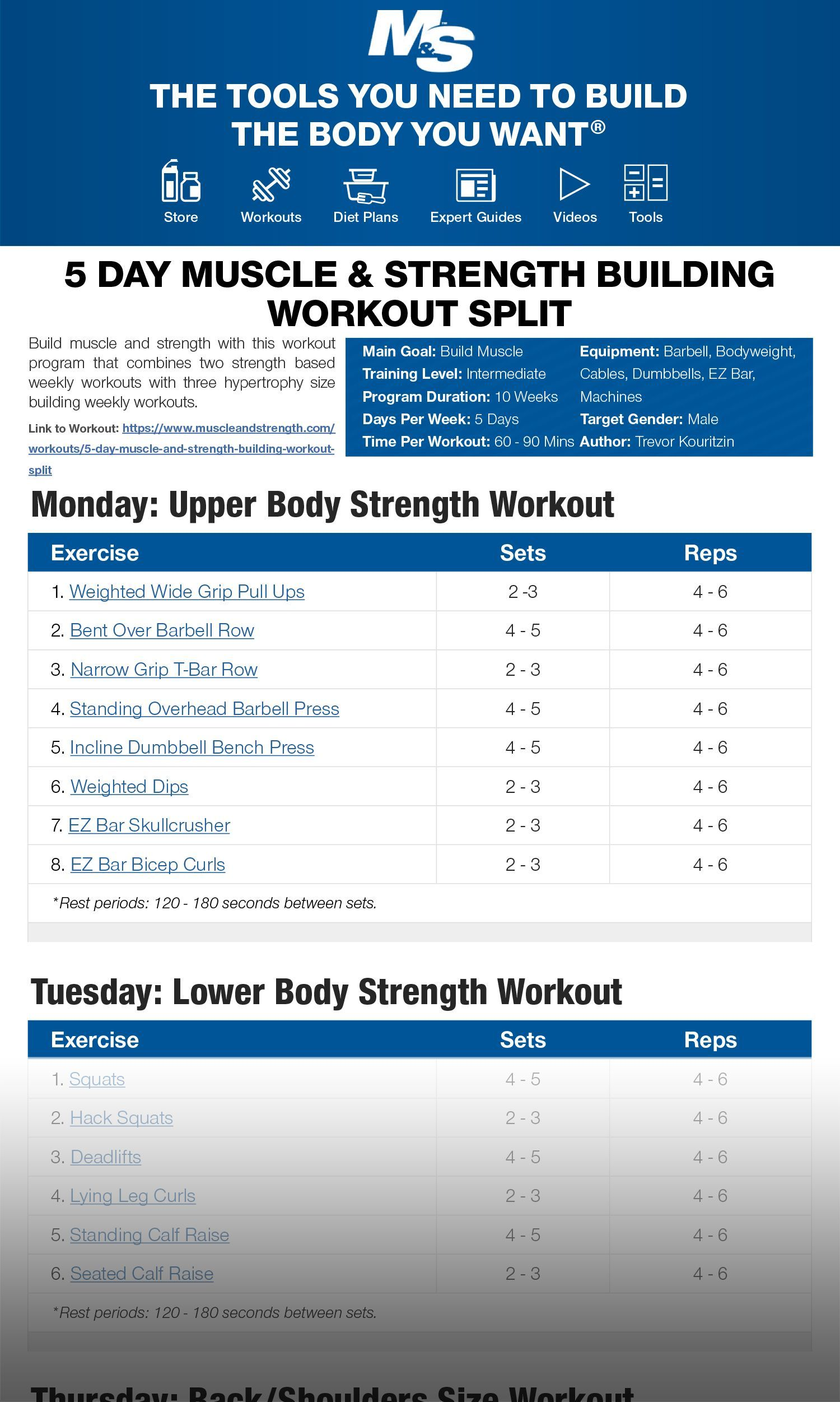 #Building #day #muscle #Split #Strength #weight training workouts #workout Build muscle and strength...