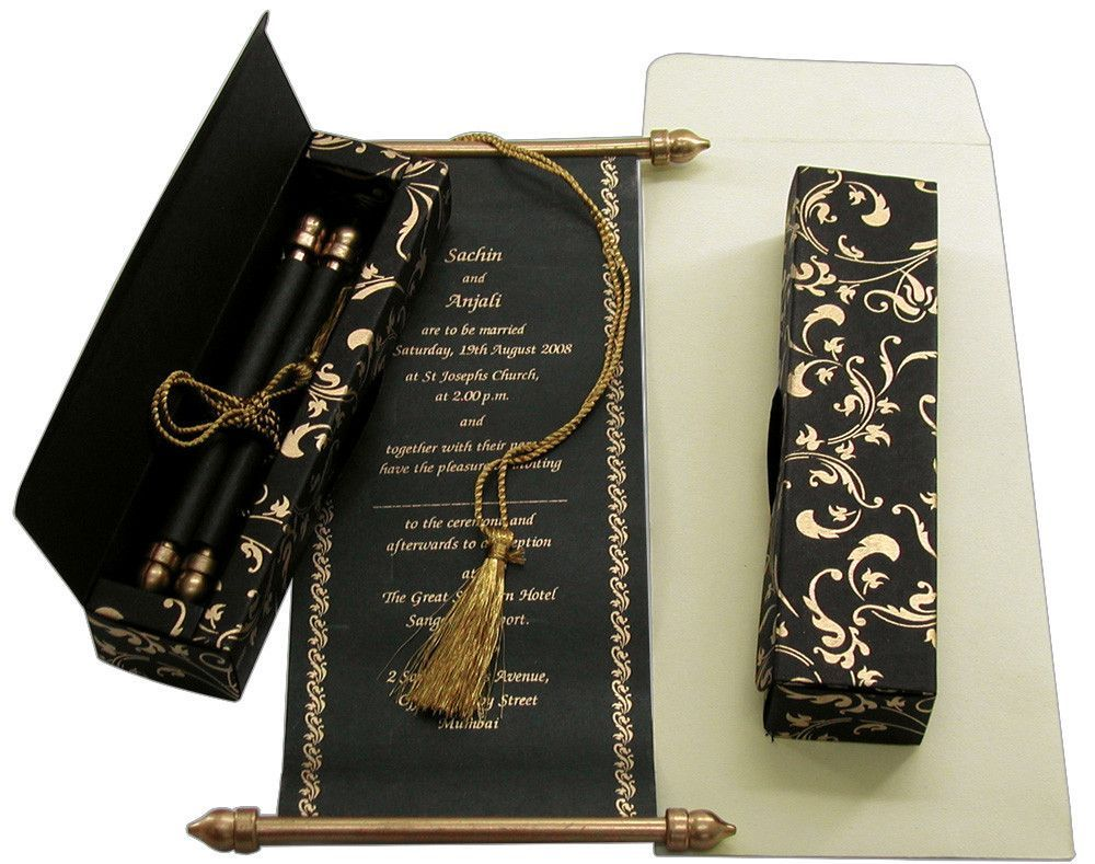 Diy Scroll Wedding Invitations: Scroll Invitations - Black / Gold