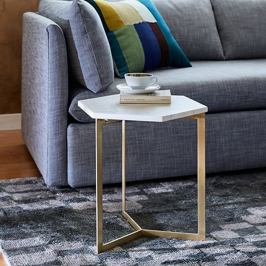 Hex Side Table Ndash Antique Brass Antique Brass White Marble - West elm white side table