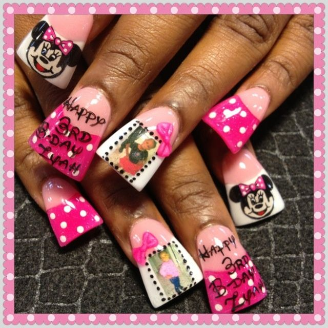minnie bday nails - Nail Art Gallery | Nails | Pinterest | Nail art ...