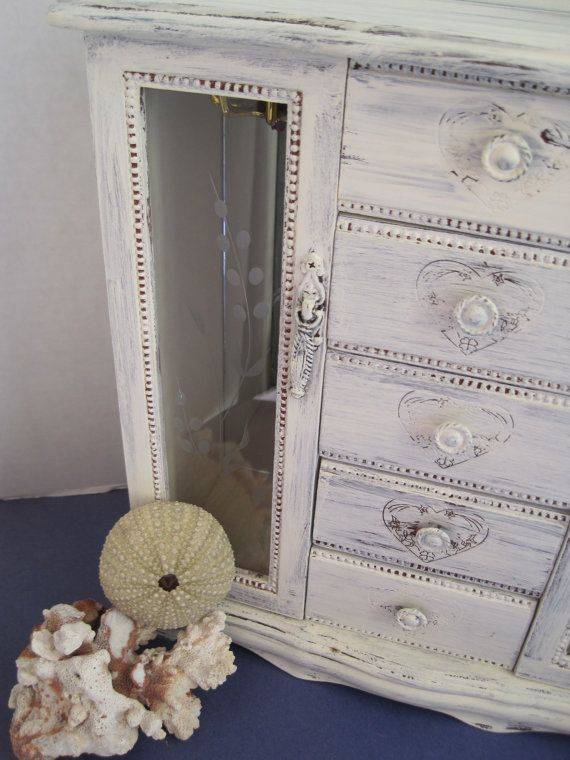 Nice distressed two door front jewelry box Each drawer has a cute