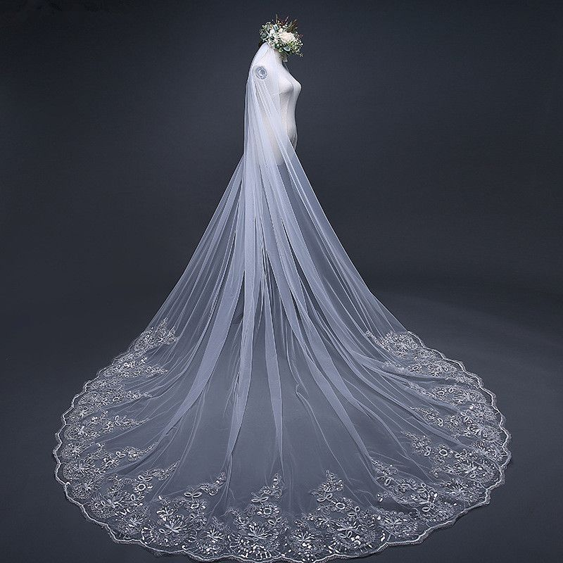 2019 White//Ivory Wedding Veil 3m Long Comb Lace Mantilla Cathedral Bridal Veil Wedding Accessories Real Photos