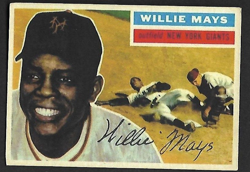 1956 Topps Willie Mays 130 Willie Mays Baseball Cards For Sale Baseball Card Values