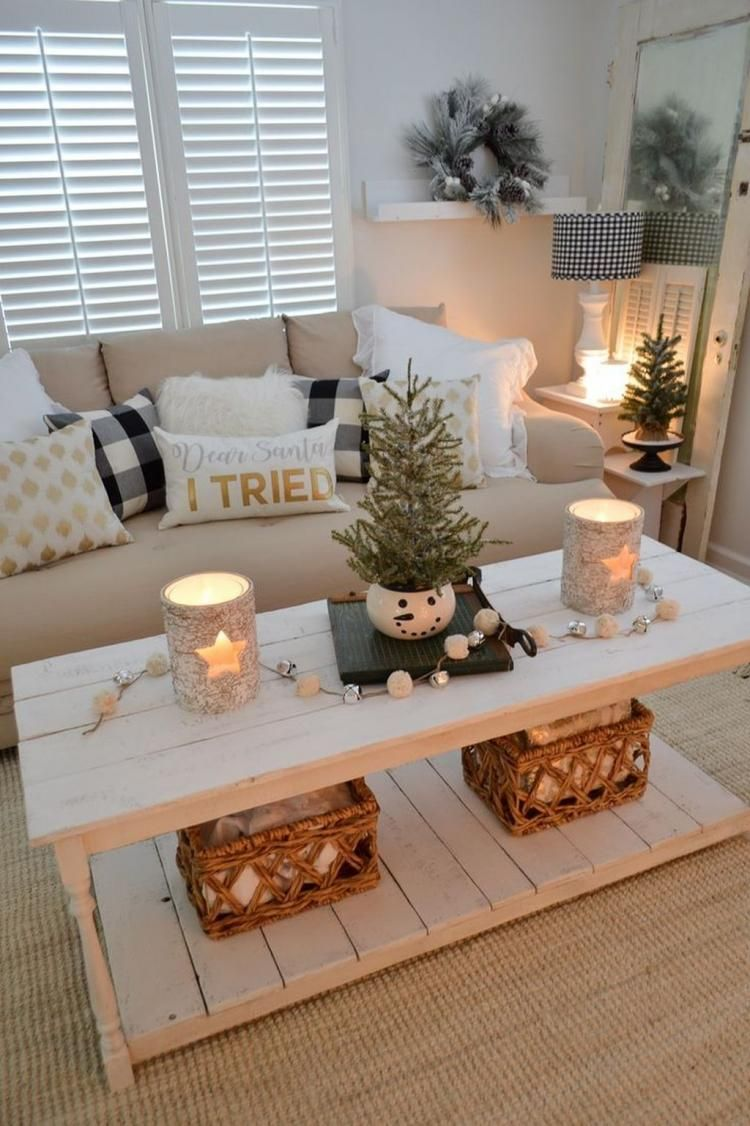 Comfy Neutral Living Room Decoration Ideas In 2019 Christmas