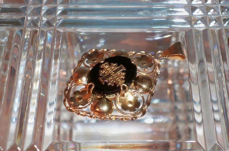 Vintage 14 Karat Gold and Black Glass Jerusalem Cross Pendant, $250 or best offer