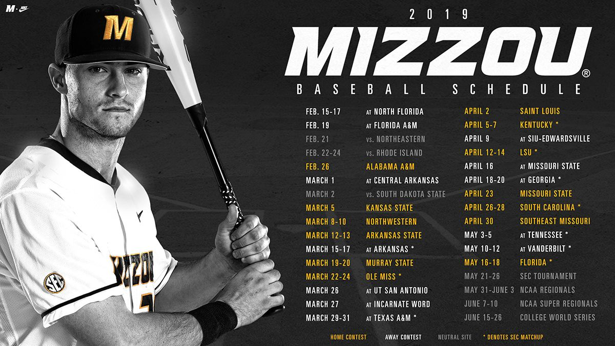 2019 Mizzou Baseball Schedule on Behance in 2020