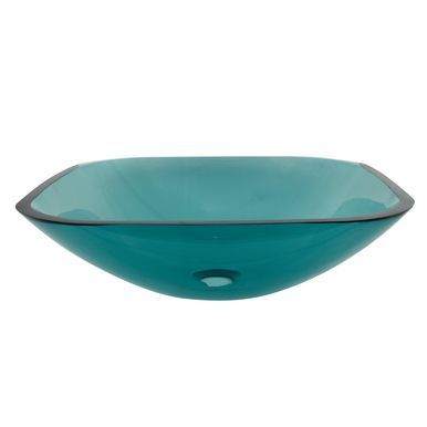 Kingston Brass Templeton Green Tempered Glass Vessel Bathroom Sink without Overflow Hole - Green