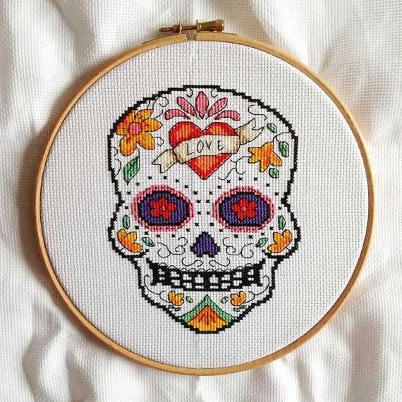 Cross stitch pdf file of Day of the Dead sugar by CrossStitchSusie, £4.50