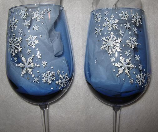 Silver Snowflake Wine Glasses Set Of Two Winter Snow By Jodistuff Holiday Wine Glasses Blue Wine Glasses Snowflake Wine Glasses